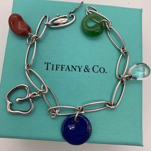 Tiffany & Co.925 Multi Color Stone Charms Bracelet